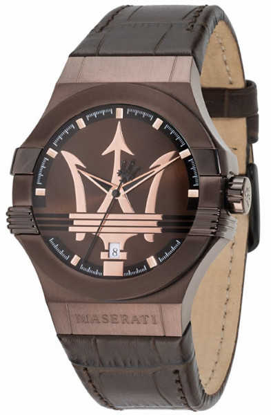 MASERATI POTENZA 42MM 3H BROWN DIAL BROWN STR R8851108011