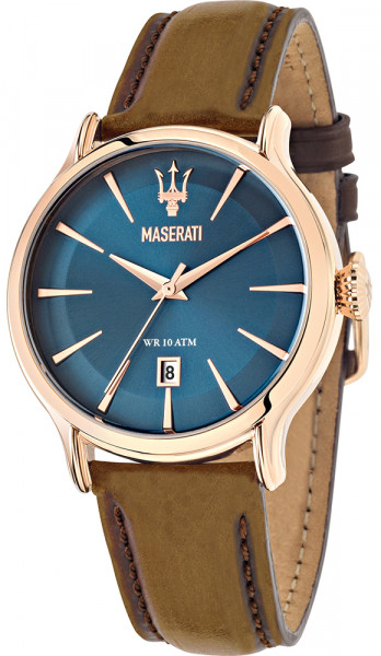 MASERATI EPOCA 42MM 3H BLUE DIAL BROWN STR RG R8851118001