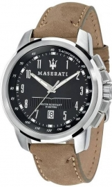 RELOJ MASERATI SUCCESSO 44 MM BLACK DIAL BROWN STR SS R8851121004