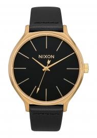 RELOJ NIXON CLIQUE LEATHER GOLD / BLACK A1250513