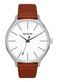 RELOJ NIXON CLIQUE LEATHER SILVER / BROWN A12501113