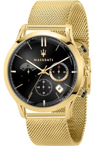 MASERATI RICORDO 42MM CHR BLACK DIAL MESH BR YG R8873633003