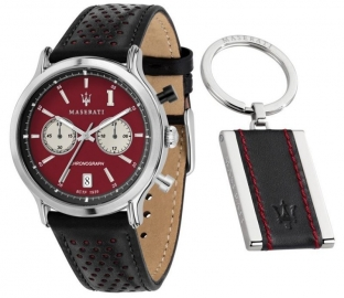 RELOJ MASERATI EPOCA RACING 42MM CHR D.RED DIAL BLK ST R8871638002