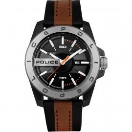 RELOJ POLICE CHELTENHAM 46MM 3H BLA DIAL BLUE&BWN ST R1453310002