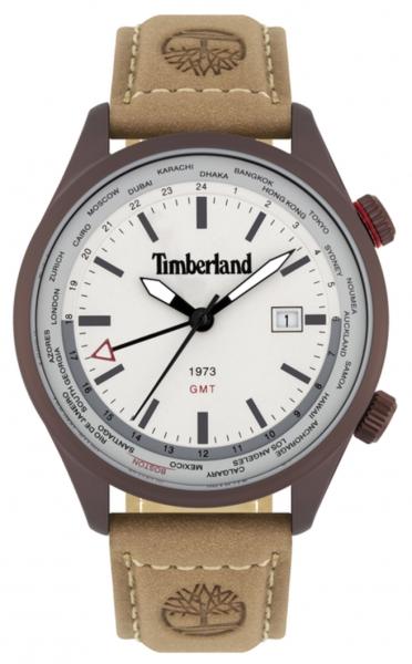 TIMBERLAND MALDEN 45MM GREY 3H DATE CAMEL LEATHER 15942JSBN-13