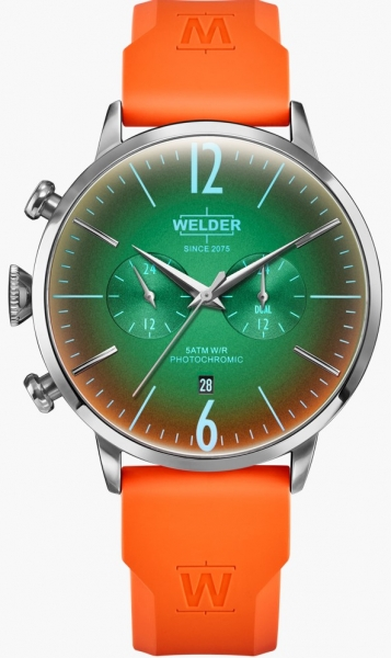 WELDER 45MM DUAL TIME ORANGE SILICONE STRAP GRE WWRC516