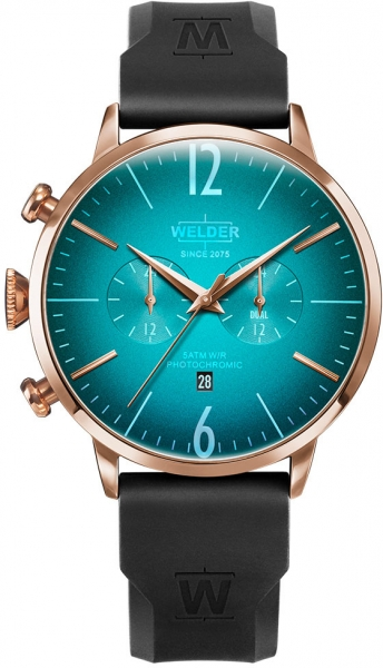 WELDER 45MM DUAL TIME BLACK SILICONE ST TURQUOI WWRC512