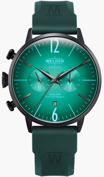 WELDER 45MM DUAL TIME GREEN SILICONE STRAP GREE WWRC517