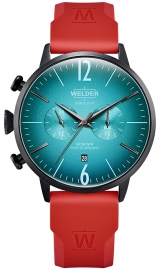 RELOJ WELDER 45MM DUAL TIME RED SILICONE STRAP TURQUO WWRC521