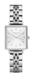 RELOJ ROSEFIELD THE MINI BOXY WHITE SUNRAY STEEL SILVER QMWSS-Q020
