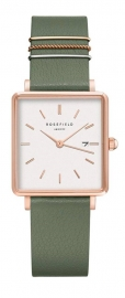 RELOJ ROSEFIELD THE BOXY WHITE FRESH OLIVE GREEN ROSE GO QOGRG-Q027