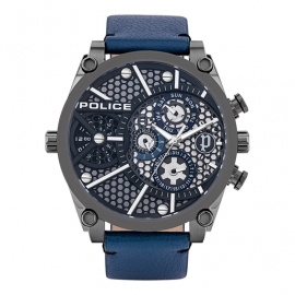 RELOJ POLICE VIGOR MULTI 51MM BLUE DIAL & LEATHER STR PL.15381JSU-61B