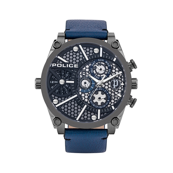 POLICE VIGOR MULTI 51MM BLUE DIAL & LEATHER STR PL.15381JSU-61B