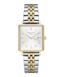 RELOJ ROSEFIELD THE BOXY WHITE SUNRAY SILVER GOLD DUO QVSGD-Q013