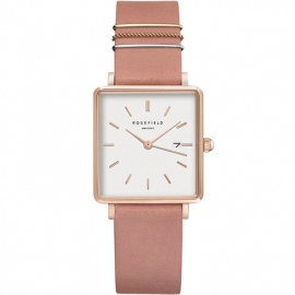 RELOJ ROSEFIELD THE BOXY WHITE OLD PINK ROSE GOLD QOPRG-Q026