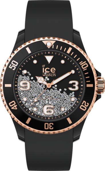 ICE WATCH CRYSTAL - BLACK ROSE-GOLD - SMOOTH - 3H IC017249