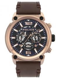 RELOJ POLICE ARMOR MULTIF BLUE DIAL BROWN LEATHER STR PL.14378JSR-03