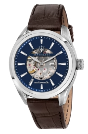 RELOJ MASERATI TRAGUARDO 45MM AUTO BLUE DIAL STR BROWN R8821112005