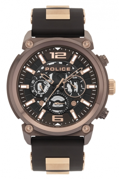 POLICE ARMOR MULTIF BROWN DIAL & SILICONE STRAP PL.14378JSBN-12P