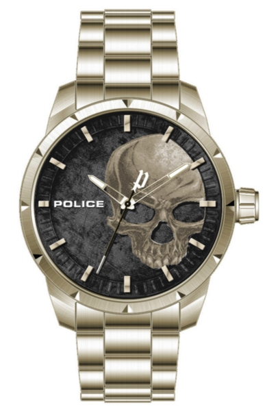 POLICE NEIST 3H 46MM BLACK DIAL LIGHT GOLD SS PL.15715JSG-78M
