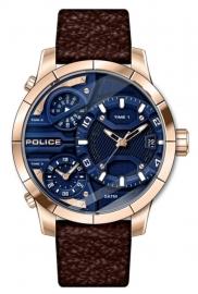 RELOJ POLICE BUSHMASTER 3H DATE BLUE RG D / BROWN L PEWJB2110602